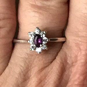 925 Purple Amethyst Flower Cluster Ring
